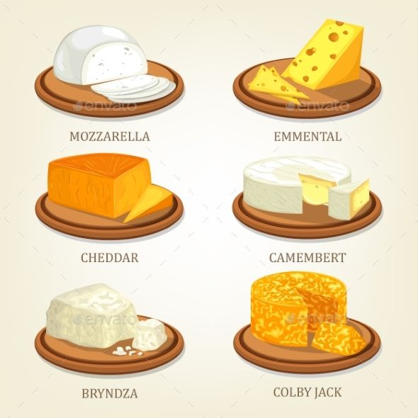Set of Isolated Chunks of Cheese on Plates by cookamoto Italian dairy mozzarella and english cheddar, emmental or swiss emmentaler, french camembert and polish bryndza, american colby ja