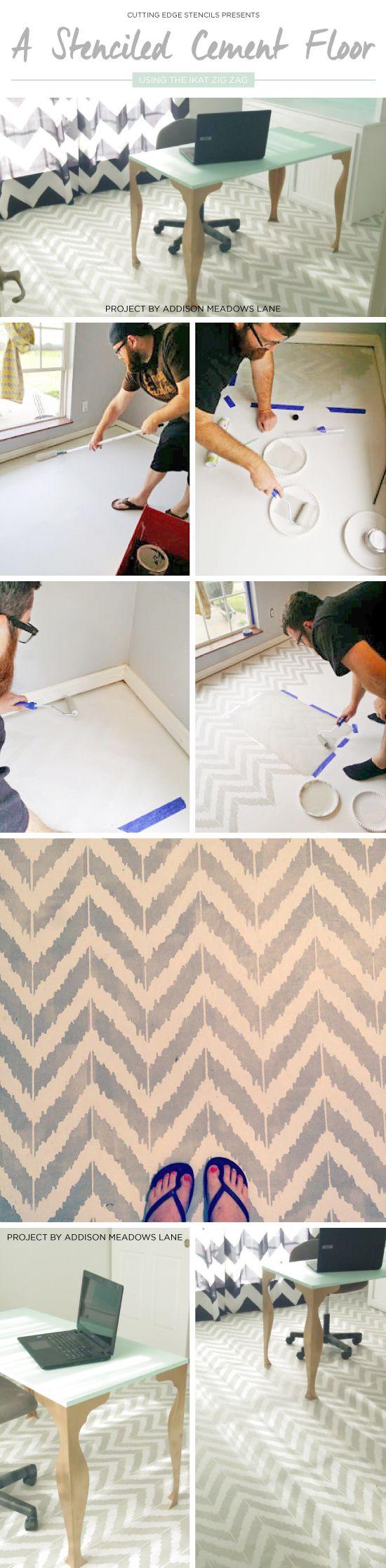 Cutting Edge Stencils shares a DIY painted and stenciled cement floor using the Ikat Zig Zag Stencil. http://www.cuttingedgestencils.com/zigzag-stencil-pattern.html