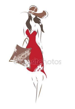 Скачать - Эскиз женщины моды — стоковая иллюстрация #43134229