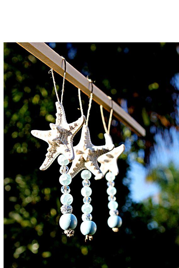 Starfish Ornament Set/Beach Christmas Ornament/Coastal Christmas