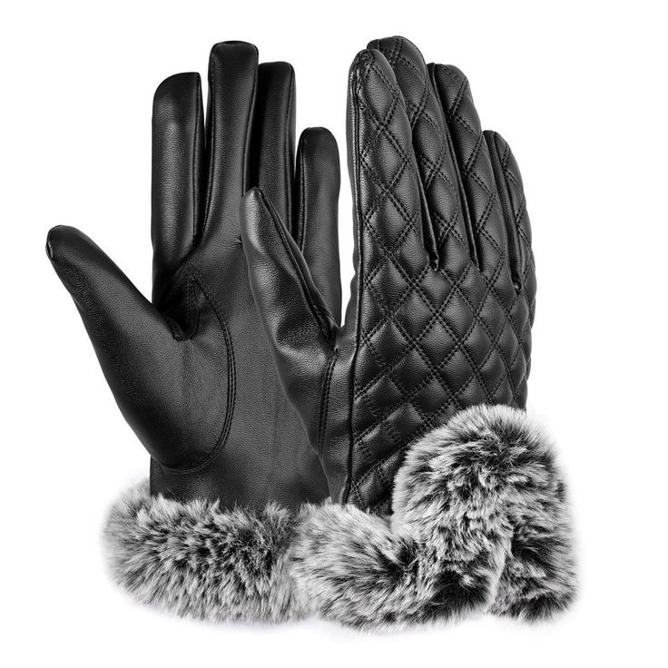 Vbiger Womens Leather Gloves Texting Touch Screen Gloves Warmest Mittens With Soft Fur (Black)