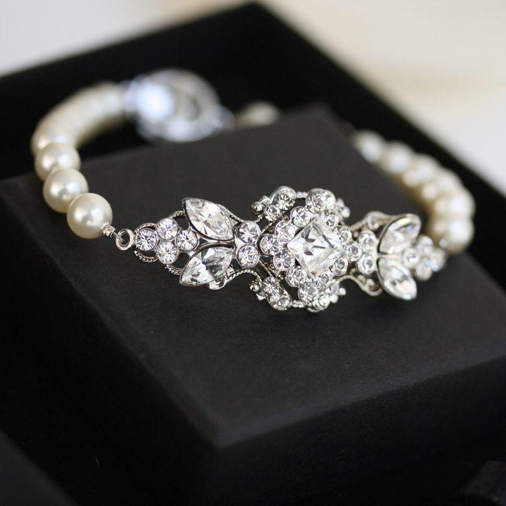 Pearl Bracelet Wedding Jewelry Pearl Bridal Bracelet Swarovski Crystal Bracelet Vintage style Art Deco Bridal Jewelry  KATRINA PEARL by LuluSplendor on Etsy https://www.etsy.com/listing/84998670/pearl-bracelet-wedding-jewelry-pearl
