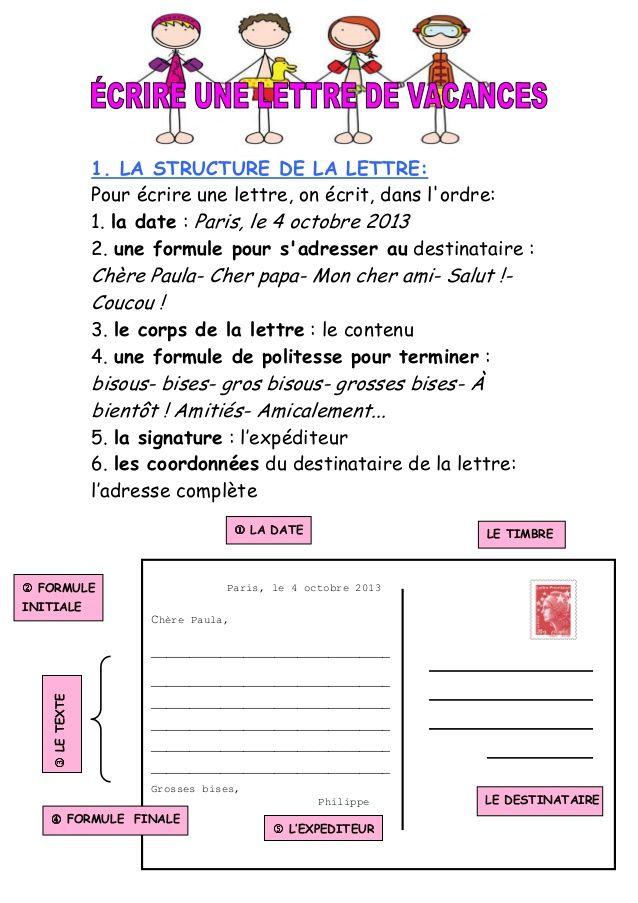 1  la structure de la lettre  pour  u00e9crire une lettre  on