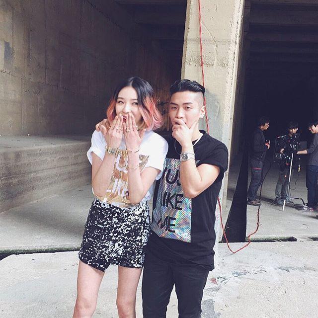 Model Irene Kim and Kpop singer Babylon on set of his new music video wearing our JUST LIKE ME t-shirt #irenekim #kpop