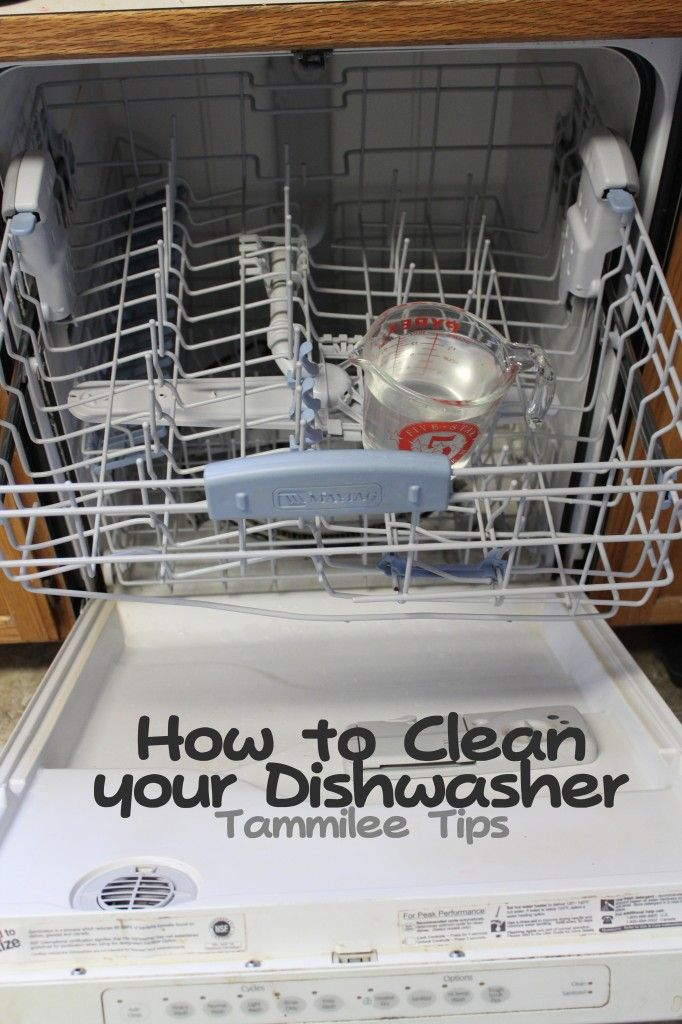 Dishwasher: half a cup of vinegar in a glass cup on the top rack. Run on high. Then baking soda on the bottom of the basin and ran the dishwasher on a half cycle with hot water