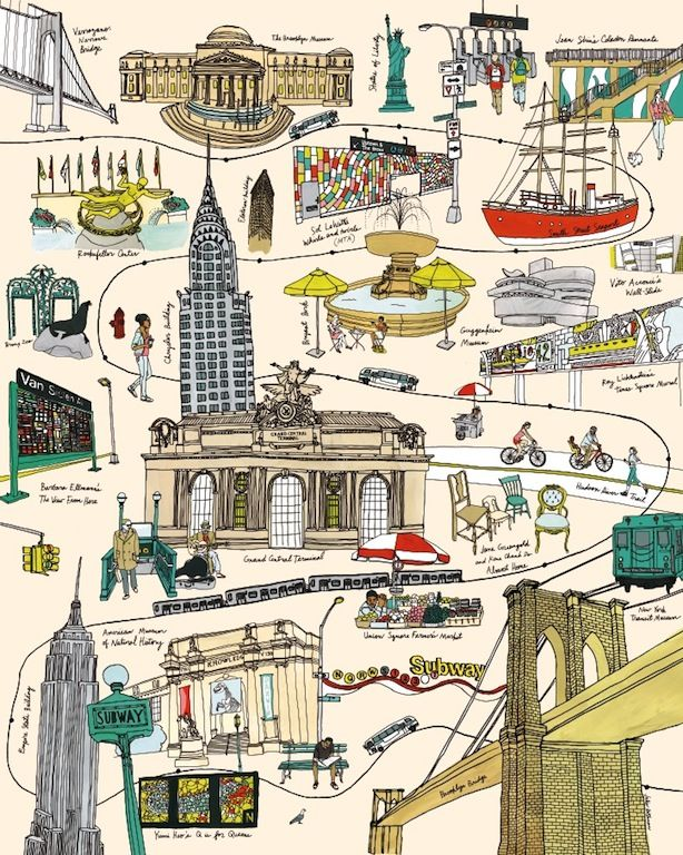 Best Map Love Images On Pinterest Illustrated Maps Travel - New york city map drawing