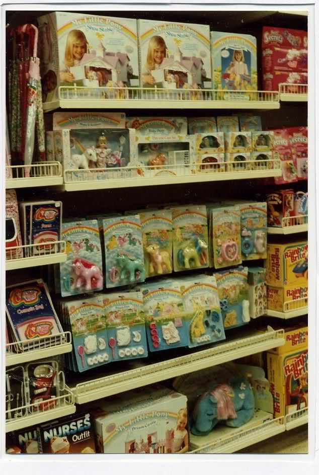 Toy shelves in the 80's!!! I remember the pack of shoes and I actually had the Dream castle on the bottom shelf.