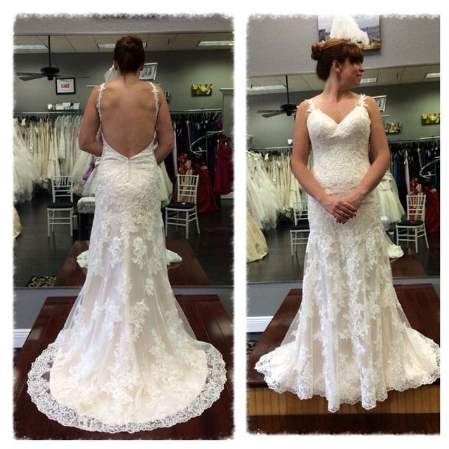 Real Brides Wearing Stella York: This Lace Over Lustre Satin Sheath Dress From The Stella