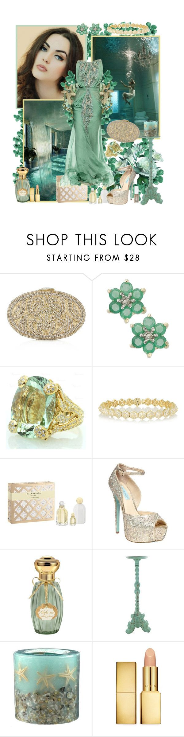 """Aqua by Satinee"" by cupcakecouturegirls ❤ liked on Polyvore featuring Topshop, Victoria Townsend, Christian Dior, Anita Ko, Balenciaga, Tony Ward, Betsey Johnson, Annick Goutal, Rosy Rings and AERIN"
