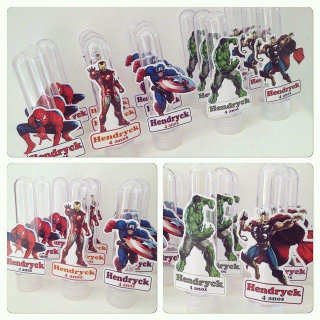 Tubetes lindos para a festa do Hendryck com o tema Avengers/ Vingadores. Exclusivo da Rá Tchim Bum! #avengers #vingadores #herois #festamenino #lembrancinhas #tubete #personalizados #ratchimbum #novaodessa #loja