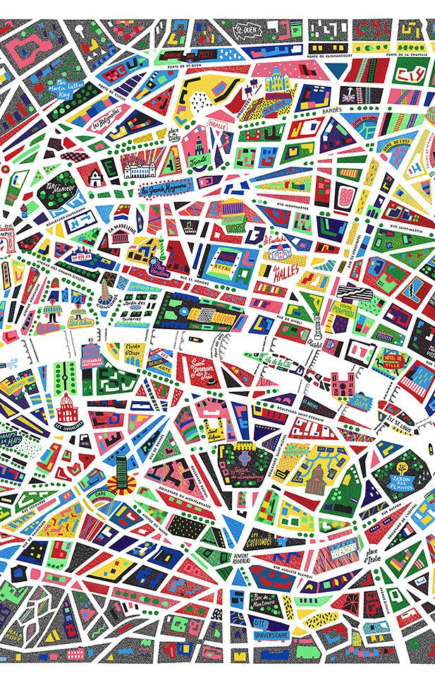 French designer Antoine Corbineau's newest print -- a neon vision of the City of Light that resembles pop-art stained glass