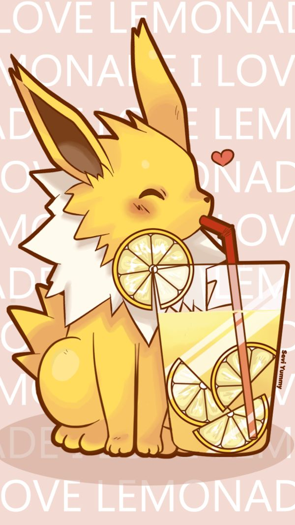 Adorable, but quite random, don't you think? Jolteon's fun practically bristles with electricity, and he (or she) is drinking lemonade, which is a highly acidic drink....or maybe I'm just sciencing the wrong way.