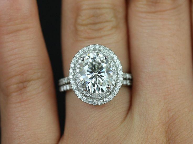 Rosados Box Cara White Gold Oval FB Moissanite Double Halo Wedding Set $3 820