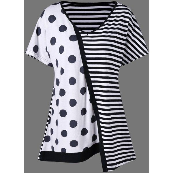 Plus Size Striped with Polka Dot T Shirt (255 MXN) ❤ liked on Polyvore featuring tops, t-shirts, polka dot tee, plus size women's t shirts, plus size womens tees, polka dot top and striped t shirt
