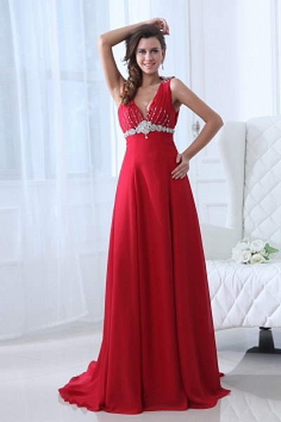 Chiffon Red A-Line Party Gown ted2319 - SILHOUETTE: A-Line; FABRIC: Chiffon; EMBELLISHMENTS: Beading , Draped , Crystal , ; LENGTH: Sweep/Brush Train - Price: 156.6200 - Link: http://www.theeveningdresses.com/chiffon-red-a-line-party-gown-ted2319.html