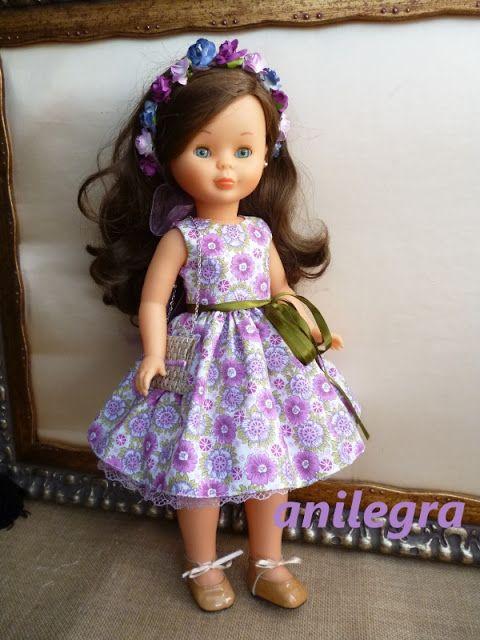 *vestido con el lazo a la cintura y una pincita para el pelo a tono por 16 euros   * modelo completo : vestido cortado a la cintura con mucho vuelo y con un lazo de adorno ,enagua de color lila , y bolsito y corona de flores a tono el precio es de 25 euros     Read more: http://anilegracoseparanancy-anilegra.blogspot.com/2016/08/vestido-aninado-lila-para-muneca-nancy.html#ixzz4Hlp4lr00