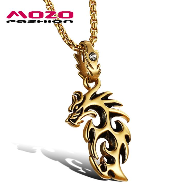 Wholesale 2016 new fashion fine jewelry men necklaces stainless steel silver / gold dragon pendants male personality gift MGX946