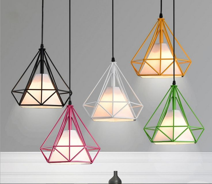 Cheap cage decor, Buy Quality cage bird directly from China lamp circle Suppliers: 6 color modern black birdcage pendant lights iron minimalist Scandinavian loft pyramid lamp metal cage with led bulb1.