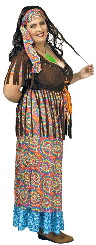 Neben dem bunten Kleid mit Fransen wird noch das passende Stirnband geliefert. Das Oberteil des Hippiekleides ist in einem schönen Braun gehalten und am Ende mit Fransen verziert, die über den bunten Rock fallen.