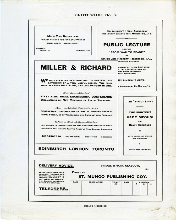 This Is Grotesque No 3 From Miller And Richard I Still Have No Clue Who Vintage Fonts It Cast Typography