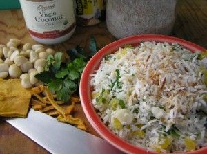 HAWAIIAN RICE...This is a wonderful combination of flavors and textures. I like using rice salad recipes for large gatherings; they're great at room temperature, and don't break the budget. (We like rice salad recipes like this one any time!) Serve 8 or so.