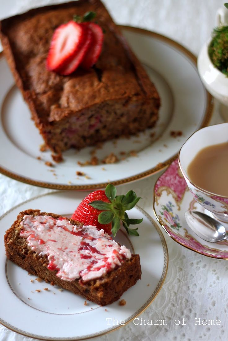 The Charm of Home: Strawberry Tea Bread with Whipped Strawberry Butter