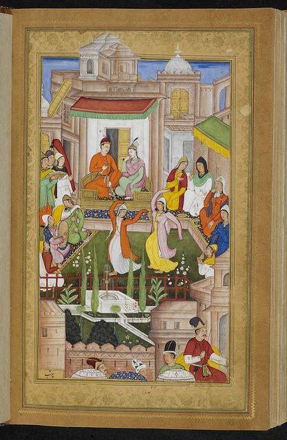 Khamsa. ('Five Poems'). - caption: 'Iskandar with Nushaba being entertained.' | Flickr - Photo Sharing!