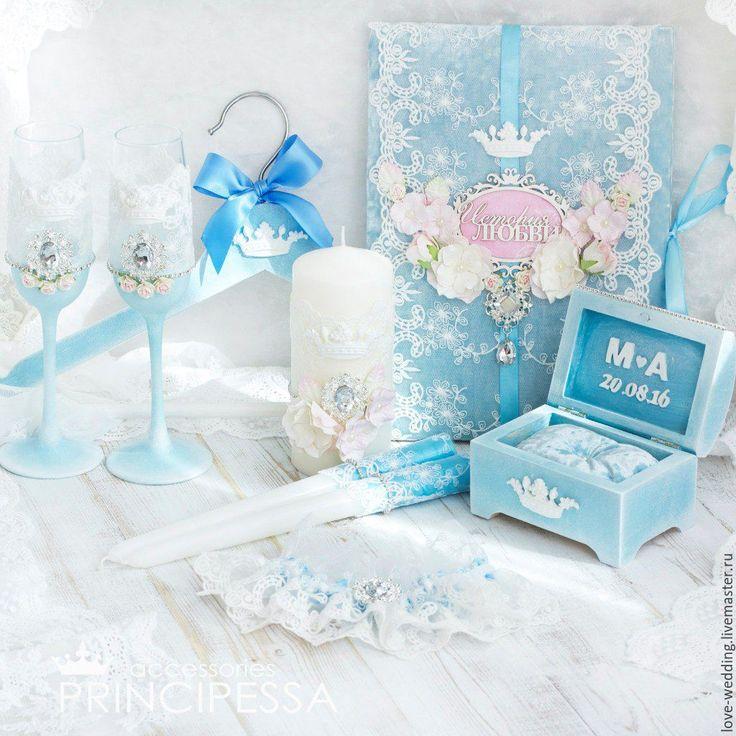 Купить или заказать 'Голубая безмятежность' свадебный набор в интернет-магазине на Ярмарке Мастеров. Данный набор аксессуаров выполнен на заказ,…