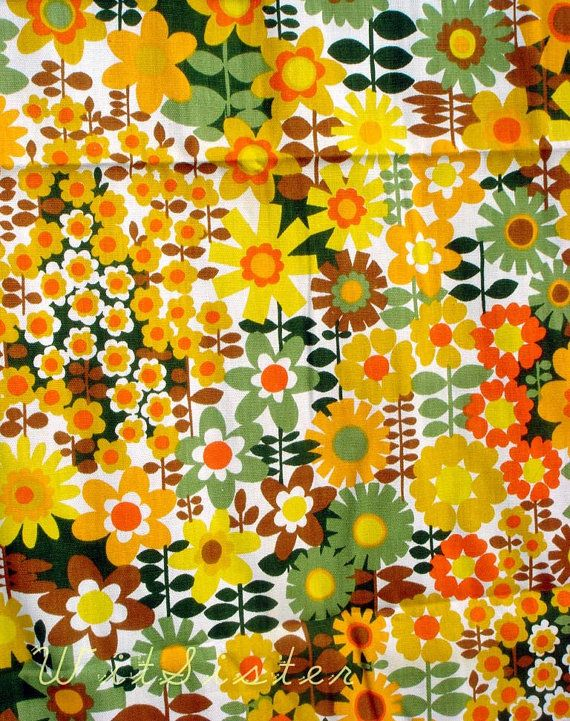 Warm Sunny Daisy 60s Vintage House N Home Fabric One Of Remnant Pattern Play Pinterest Pattern Fabric And Vintage