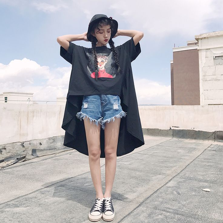 原宿 半袖 Tシャツ 裾不規則なデザイン ファッション レディース カラフル ダンス 衣装 派手 カワ 個性的 かわいい