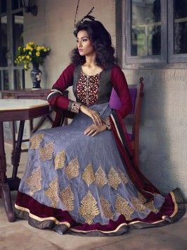 Light Purple Net Anarkali Suit With Velvet And Diamond Work www.saree.com