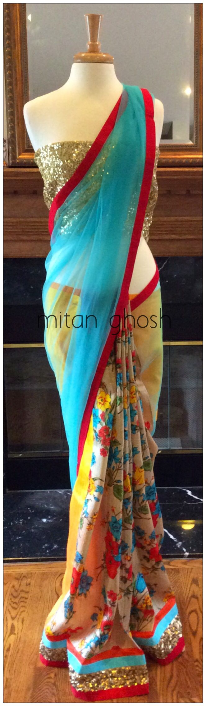 Printed saree with net palla