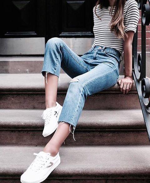 """afashionlines: """"fashionn-enthusiast: """" Striped T-Shirt Pants """" http://afashionlines.tumblr.com/ """""""