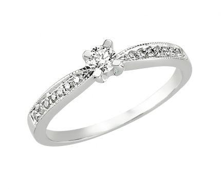 Ein Verlobunsgring zum Träumen. Diesen Verlobungsring kann die Braut auch als Beisteckring zum Ehering tragen.