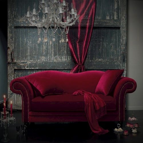 Cerise Red Velvet Couch Sofa. I WILL Have A Maroon Velvet Sofa In My Future