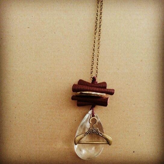 Little chain#brown leather#raku ceramic#glass#pendant#hanger