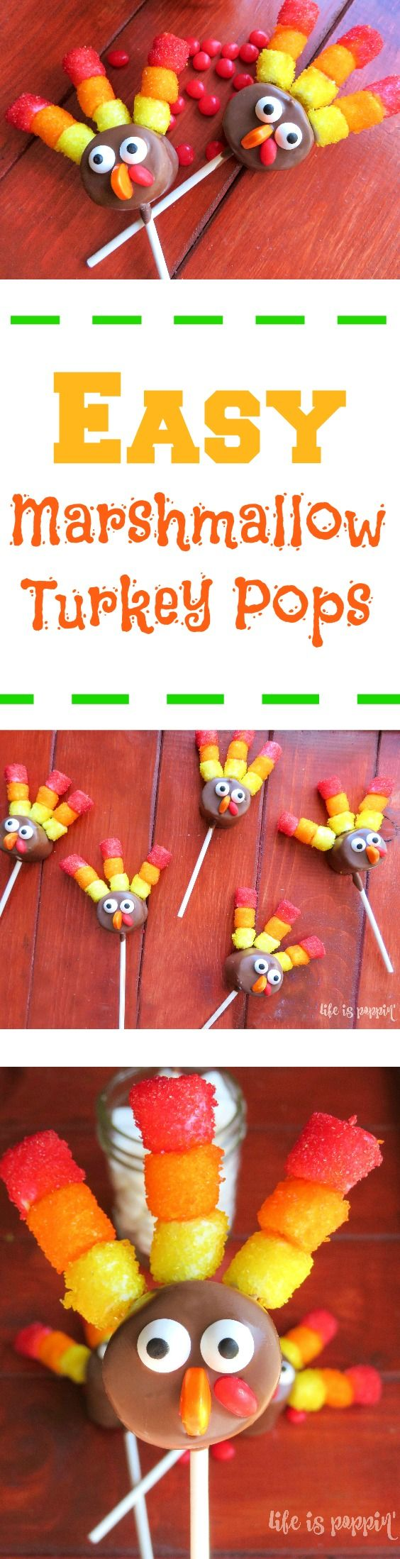 Holy cuteness! Take a look at these adorable marshmallow turkey pops! Make these for your kids or let them help you, and I promise, you will be the coolest parent around! They look super fancy but they are actually pretty simple. You could make these turkey pops for the kids' class parties or at your Thanksgiving feast. Whatever you decided to make them for, you will wow a crowd!