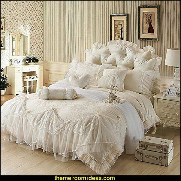 victorian Princess Beige Wedding Bedding,Luxury Jacquard Embroidery Lace Duvet Cover,Romantic bedding