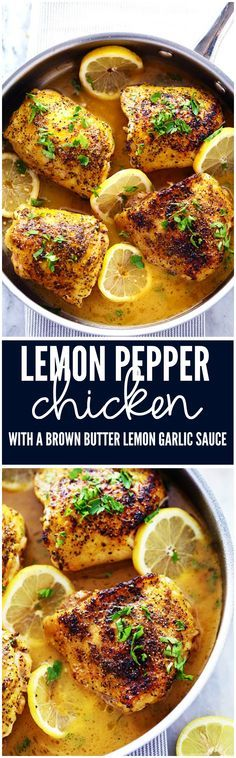 Chicken that gets coated in lemon pepper seasoning and is baked to tender and juicy perfection. The brown butter garlic lemon sauce is absolutely incredible!