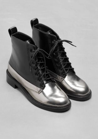 & Other Stories image 2 of Silver Lace-Up Leather Boots in Silver