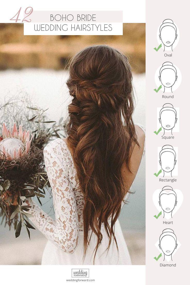 42 Boho Wedding Hairstyles For Tender Bride Bohemian Wedding Hair Hair Styles Boho Wedding Hair