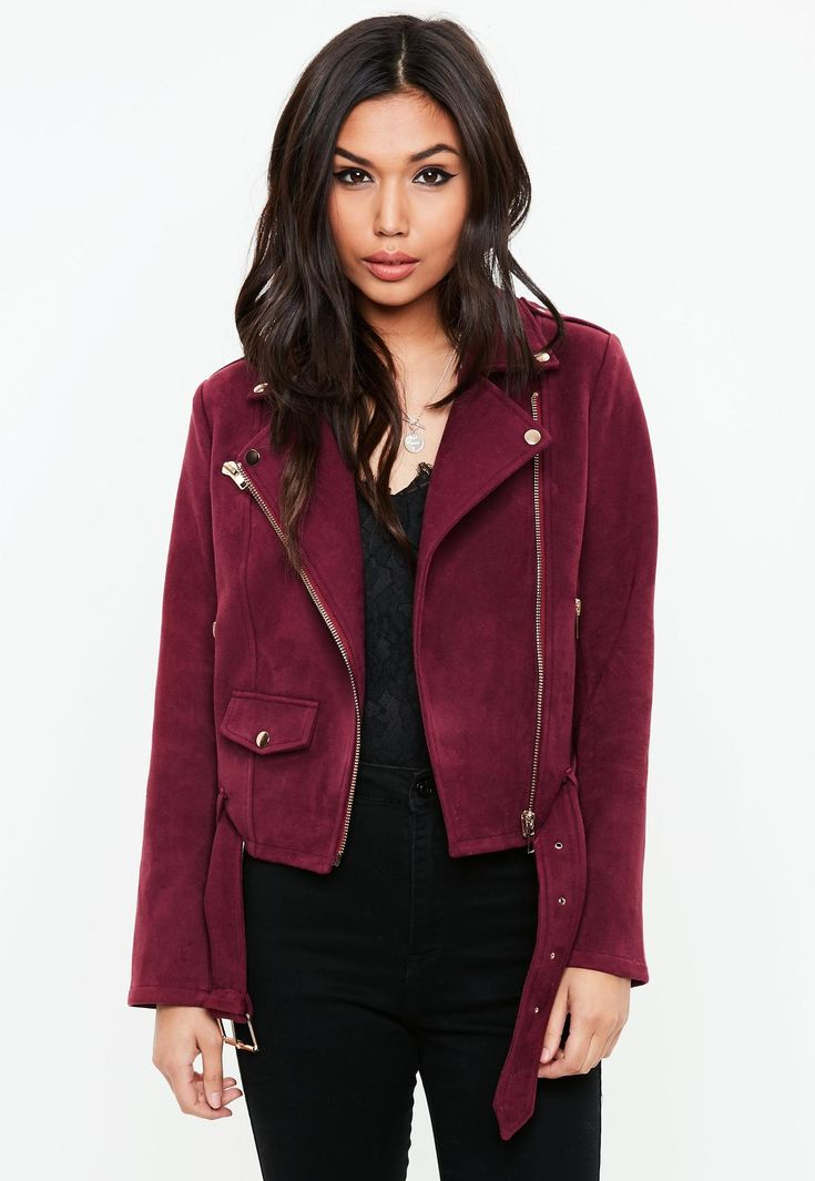 This faux suede biker jacket features a purple hue and gold detail.