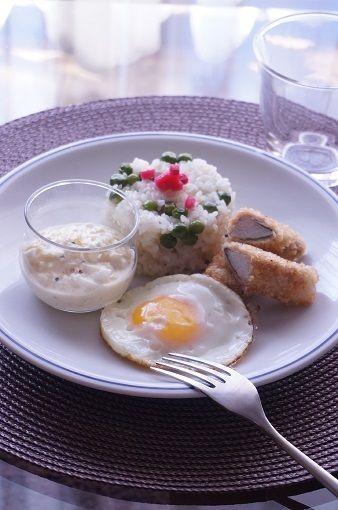 グリンピースご飯と長芋の豚肉巻きフライのランチ by junjunさん ...