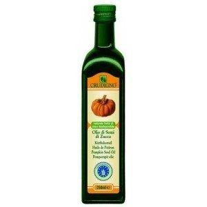 Ulei bio din seminte de dovleac. Uleiul din seminte de dovleac, bogat in vitamina E, este obtinut prin presarea la rece a semintelelor decojite, are culoare verde brun inchis si gust puternic aromat.Va recomandam utilizarea uleiului din seminte de dovleac datorita faptului ca este bogat in zinc biodisponibil si este folosit pentru a intari vezica urinara si pentru a preveni problemele de prostata.