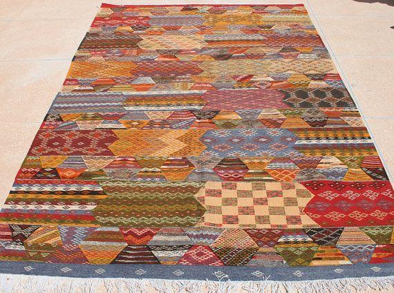groer farbenfroher kelim teppich gelb blau kelimteppich 200x300 marokkanischer teppich 2x3 kinderzimmer teppich