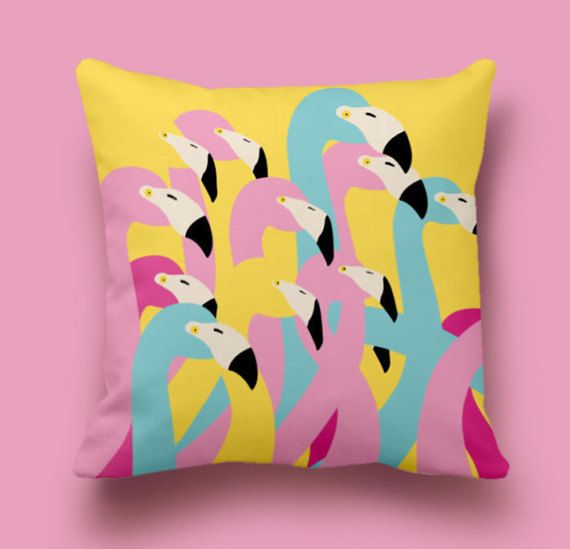 Awesome flamingos pillow cover in yellow. Super fresh and modern looking design inspired by the colors of Andy Warhol paintings.  - Material: The backs of the covers feature the same fabrics as the front and have an envelope closure for easy access. Always same fabric print on front and back  -Care : Machine wash cold, mild detergent. Air Dry Only - Machine Drying is not recommended - Do not Dry Clean. Hot iron as needed.  IMPORTANT: These are COVERS ONLY! You can cover your existing…