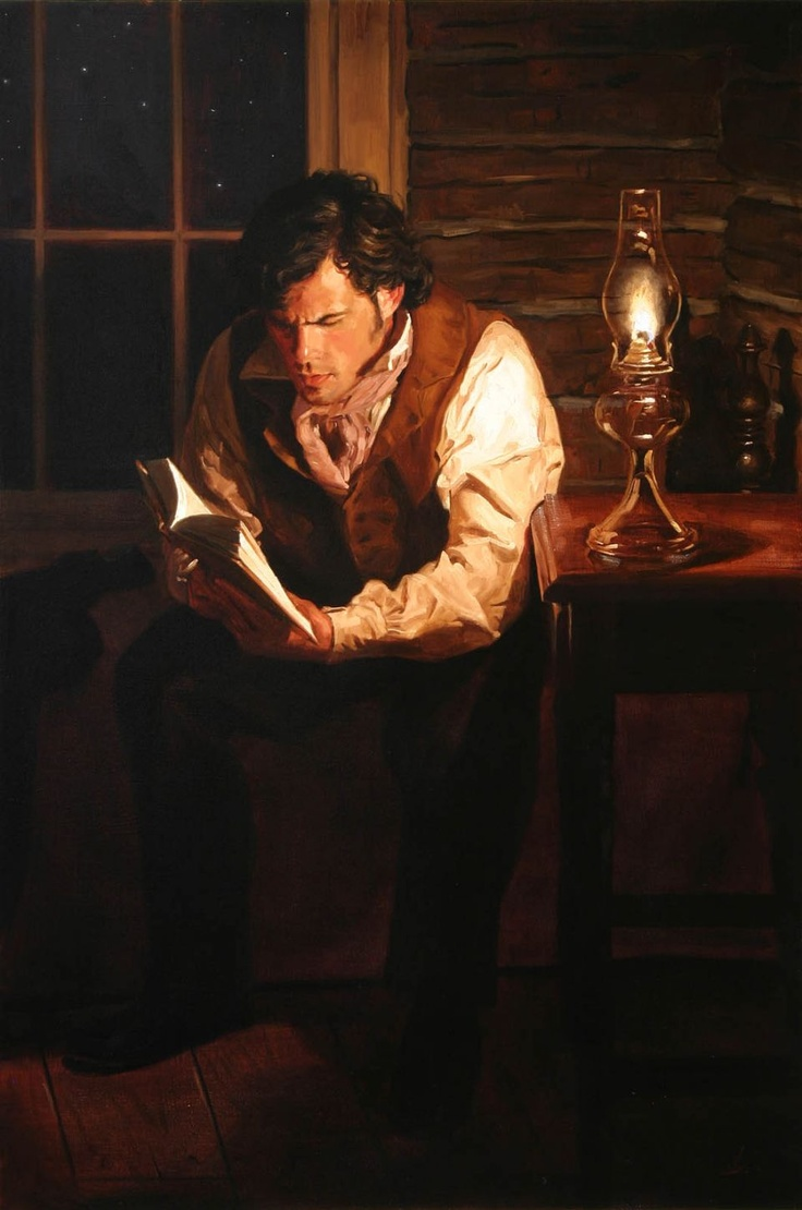 Man reading by lamplight painting by Jeffrey Hein