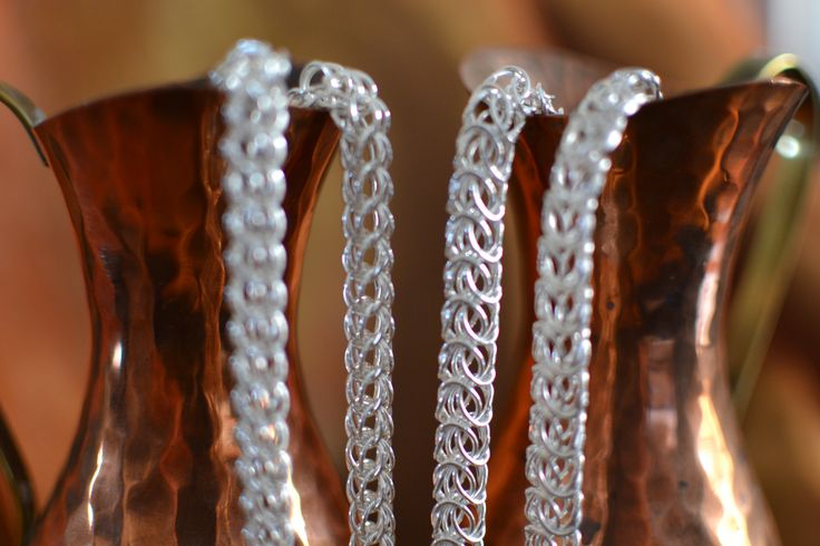 A variety of Sterling Silver Chain-Maille pieces with optional extra bracelets.  flat and round Byzantine as well as flat and round Persian designs in either Large or Medium gauge
