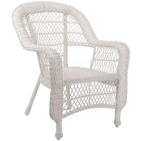 Savannah White Wicker Chair ($130) ❤ Liked On Polyvore Featuring Home,  Outdoors,