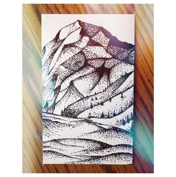 MOUNTAIN RANGE- Black Ink Illustration